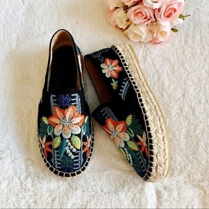 Johnny Was Floral Embroidered Espadrilles Worn 1x
